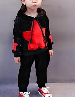 Mädchen Sets einfarbig Druck Baumwolle Herbst Winter Lange Ärmel Kleidungs Set