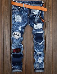 Herren Einfach Mittlere Hüfthöhe Mikro-elastisch Jeans Chinos Jeans Chinos Hose,Ripped Solide