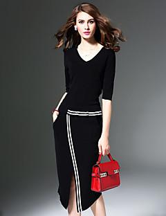 Χαμηλού Κόστους Split dresses-Γυναικεία Μεγάλα Μεγέθη Πάρτι / Καθημερινά / Εξόδου Κομψό στυλ street Θήκη Φόρεμα - Μονόχρωμο Μίντι Λαιμόκοψη V / Άνοιξη / Φθινόπωρο