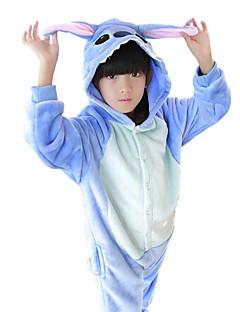 billige Kigurumi-Barne Kigurumi-pysjamas Anime / Blå Monster Onesie-pysjamas Kostume Flannelstoff Blå / Rosa Cosplay Til Pysjamas med dyremotiv Tegnefilm Halloween Festival / høytid / Jul