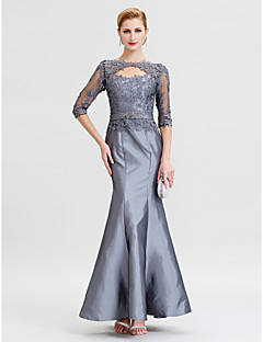 cheap Mother of the Bride Dresses-Mermaid / Trumpet Jewel Neck Floor Length Taffeta Corded Lace Mother of the Bride Dress with Beading by LAN TING BRIDE®