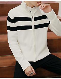 Normal Cardigan Fritid/hverdag Enkel Herre,Stripet Rullekrage Langermet Polyester Vinter Medium Mikroelastisk