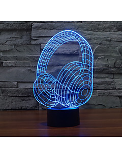 baratos Luzes de presente-1conjunto Luz noturna 3D USB Bateria Cores Variáveis Decorativa