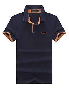 Bomull Spandex Medium Kortermet,Skjortekrage Polo Bokstaver Sommer Høst Enkel Fritid/hverdag Plusstørrelser Herre
