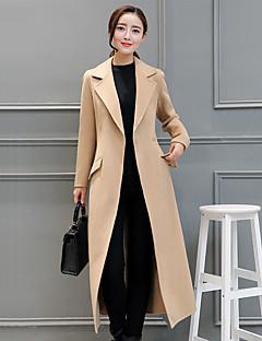 Damen Solide Einfach Freizeit Alltag Trench Coat,V-Ausschnitt Winter Standard Baumwolle
