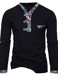 Miehet Pitkähihainen V kaula-aukko Puuvilla Kevät Syksy Vapaa-aika Aktiivinen Kineseria Päivittäin Bile T-paita,Painettu Color Block