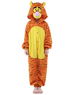 Kigurumi-pyjama's Tiger Onesie Pyjama  Kostuum Flanel Fleece Oranje Cosplay Voor Kind Dieren nachtkleding spotprent Halloween Festival /