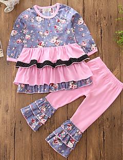 billige Tøjsæt til piger-Pige Tøjsæt Blomstret Patchwork, Bomuld Polyester Forår Efterår Langærmet Sej Folder Retrorød Lyserød