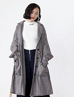 Damen Druck Einfach Lässig/Alltäglich Trench Coat,Hemdkragen Herbst Lang Baumwolle