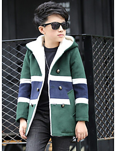 Boys' Patchwork Trench Coat Winter Fall Green Red Khaki