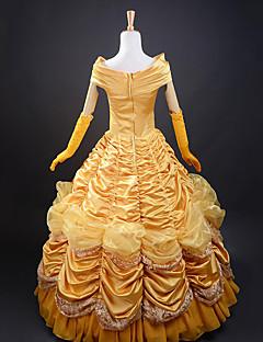 billige Voksenkostymer-Prinsesse / Eventyr Cosplay Kostumer / Party-kostyme Dame Jul / Halloween / Karneval Festival / høytid Halloween-kostymer Gylden gul Ensfarget / Satin