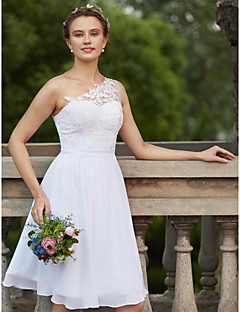 cheap Plus Size Wedding Dresses-A-Line One Shoulder Knee Length Chiffon Lace Custom Wedding Dresses with Appliques Sash / Ribbon by LAN TING BRIDE®
