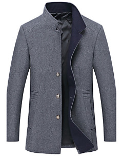 Men's Plus Size Casual/Daily Casual Fall Winter Pea Coat