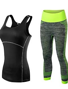 billige Løbetøj-Dame Yoga bukser med top - Sort / Rød, Sort / Blå, Sort / Gul Sport Højtaljede Tøjsæt Løb, Fitness, Træningscenter Uden ærmer Sportstøj Åndbart, Hurtigtørrende, Mavekontrol Elastisk
