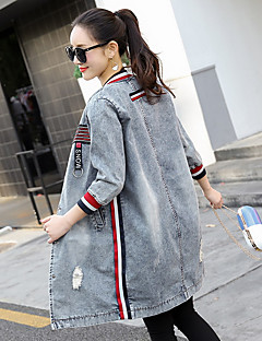 Women's Daily Simple Casual Winter Fall Denim Jacket,Print Round Neck Long Sleeve Long Others
