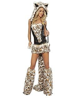 billige Voksenkostymer-Bunny Jenter Cosplay Kostumer Hansker Maskerade Kvinnelig Jul Halloween Karneval Festival / høytid Halloween-kostymer Svart Gul Leopard