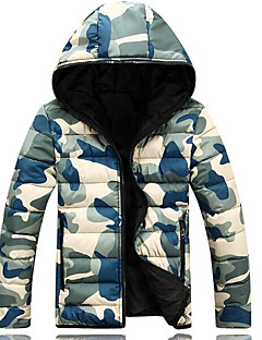 Men's Regular Padded Coat,Street chic Daily Going out Camouflage-Cotton Cotton Long Sleeves