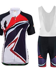 billige Sett med sykkeltrøyer og shorts/bukser-Dame Kortermet Sykkeljersey med bib-shorts - Hvit Svart Sykkel Klessett