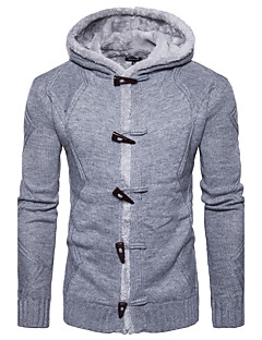 Men's Daily Going out Casual Regular Pullover,Solid Round Neck Long Sleeves Cotton Acrylic Winter Fall Medium Stretchy