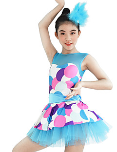 cheap Kids' Dancewear-Kids' Dancewear Dresses Women's Children's Performance Elastic Elastane Lycra Pattern/Print Sleeveless Natural Dresses Headpieces