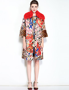 Dames Vintage Schattig Boho Winter Herfst Jas,Dagelijks Uitgaan Luipaard Overhemdkraag Normaal Wol Polyester