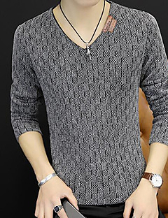 Men's Daily Casual Regular Pullover,Solid V Neck Long Sleeves Polyester Fall Medium Micro-elastic
