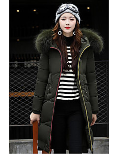 Women's Long Padded Coat,Street chic Going out Solid-Polyester Polyester Long Sleeves
