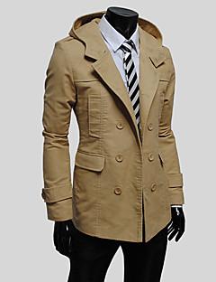 billige Herremote og klær-Bomull Lang Med hette Trenchcoat - Ensfarget Herre