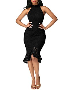 お買い得  レディースドレス-女性用 ボディコン ドレス - レース ラッフル, ソリッド ハイライズ クルーネック