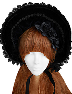 Lolita Accessories Gothic Lolita Handmade Black Rose Bow Velvet Bonnet Black Lolita Accessories Cap / Hat Lace For Women Velvet