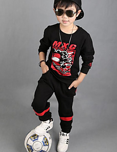 Boys' Cartoon Clothing Set,Cotton Winter Fall Long Sleeve Black