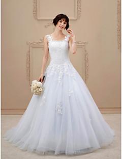billiga A-linjeformade brudklänningar-A-linje Fyrkant Hovsläp Spets / Tyll Bröllopsklänningar tillverkade med Applikationsbroderi av LAN TING BRIDE® / Öppen Rygg