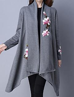 baratos Suéteres de Mulher-Mulheres Casaco Longo Para Noite Moda de Rua - Sólido / Floral, Algodão Colarinho Chinês / Outono / Inverno / Bordado