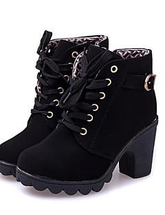 baratos -Mulheres Sapatos Pele Nobuck / Couro Ecológico Outono / Inverno Plataforma Básica / Coturnos Botas Sem Salto Botas Curtas / Ankle Preto /