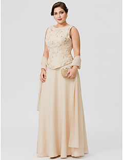 cheap Mother of the Bride Dresses-A-Line Jewel Neck Floor Length Chiffon Mother of the Bride Dress with Beading Embroidery Pearl Detailing by LAN TING BRIDE®