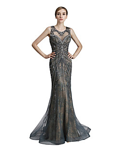 cheap -Mermaid / Trumpet Jewel Neck Sweep / Brush Train Tulle Prom Formal Evening Dress with Beading Sequins by Sarahbridal