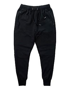 Miesten Juoksuhousut Fitness, Juoksu & Yoga Pants Juoksu Polyesteri Spandex Villasekoite Ohut Musta M L XL
