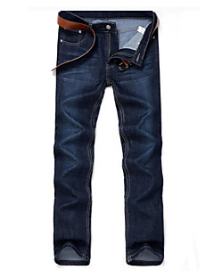 Men's Mid Rise Inelastic Straight Jeans Pants,Simple Straight Jeans Solid