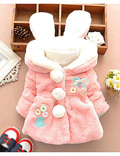 Girls' Color Block Jacket & Coat,Others Winter Long Sleeve White Blushing Pink