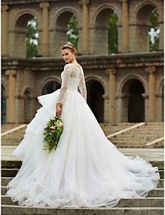 billiga A-linjeformade brudklänningar-Balklänning Illusion Halsband Katedralsläp Organza / Satäng / Tyll Bröllopsklänningar tillverkade med Kristall / Bård / / Genomskinliga