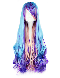 Lolita Wigs Punk Lolita Blue Color Gradient Lolita Wig 80 CM Cosplay Wigs Patchwork Wig For
