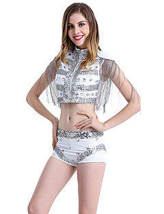 Shall We Jazz Outfits Women's Performance Spandex Tassel(s) Sleeveless Dropped Tops Pants
