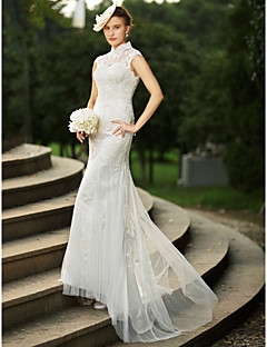 cheap Plus Size Wedding Dresses-Mermaid / Trumpet High Neck Sweep / Brush Train Satin Tulle All Over Lace Custom Wedding Dresses with Appliques Buttons by LAN TING BRIDE®