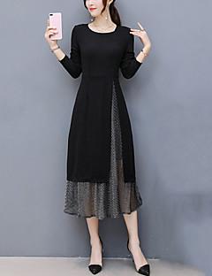 preiswerte -Damen Hülle Kleid-Ausgehen Übergröße Patchwork Rundhalsausschnitt Midi Langarm Polyester Winter Herbst Mittlere Hüfthöhe Mikro-elastisch