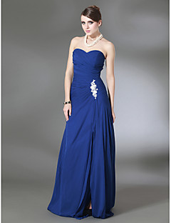 cheap Evening Dresses-Sheath / Column Strapless Sweep / Brush Train Chiffon Formal Evening / Military Ball Dress with Appliques by TS Couture®