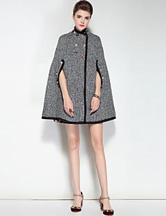 Dames Vintage Schattig Boho Herfst Winter Cloak / Capes,Uitgaan Casual/Dagelijks Kleurenblok Pied-de-poule Opstaand Lange mouw Normaal