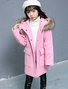 cheap Girls' Clothing-Girls' Solid Jacket & Coat,Polyester Winter Fall Long Sleeve Green Red Blushing Pink