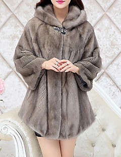 Women's Going out Simple Fall Winter Fur Coat,Solid Hooded ¾ Sleeve Regular Polyester Fur Trim