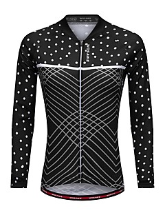billige Sykkelklær-WOSAWE Dame Langermet Sykkeljersey - Svart Sykkel Jersey Polyester