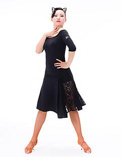 ラテンダンス 女性用 ダンスパフォーマンス ナイロン プロミックス 五分袖 ドレス